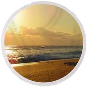 Meeting With The Sun Round Beach Towel