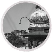 Mehrangarh Fort - Approach With Caution Bw Round Beach Towel