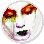 Melancholy In Watercolor Round Beach Towel