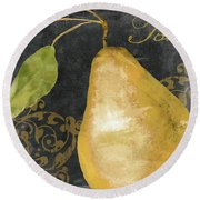 Melange French Yellow Pear Round Beach Towel