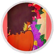 Melanin And Flowers Round Beach Towel