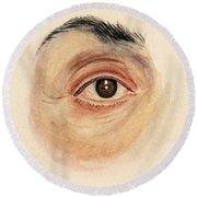 Melanoma Of Iris, Medical Illustration Round Beach Towel