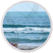 Melbourne Beach Florida On The Phone Round Beach Towel