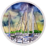Melbourne Florida Marina Round Beach Towel