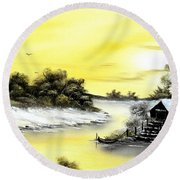 Mellow Yellow Sold Round Beach Towel