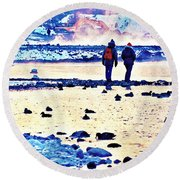 Melodramatic Moment Round Beach Towel