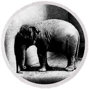 Melancholy Elephant Round Beach Towel