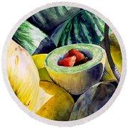 #18 Melons Plus Round Beach Towel