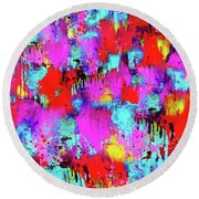 Melting Flowers Abstract  Round Beach Towel