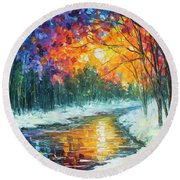 Melting River Round Beach Towel