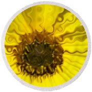Melting Sunflower Round Beach Towel