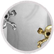 Memento Mori - Gold And Silver Human Skulls And Bones On White Canvas Round Beach Towel