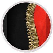 Memento Mori - Gold Human Backbone Over Black And Red Canvas Round Beach Towel