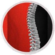Memento Mori - Silver Human Backbone Over Red And Black Canvas Round Beach Towel