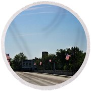 Memorial Avenue Bridge Roanoke Virginia Round Beach Towel by Teresa Mucha