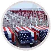 Memorial Day Remembrance At The Beach Round Beach Towel