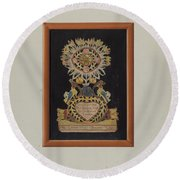 Memorial-pennsylvania Fractur And Cut-out Commemorating Jacob Bauer Round Beach Towel