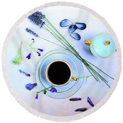 Memories And Coffee Round Beach Towel