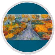 Memories Of Home In Autumn Round Beach Towel