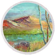 Memories Of Somewhere Out West Round Beach Towel