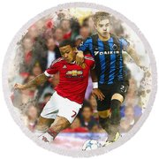 Memphis Depay Of Manchester United In Action Round Beach Towel