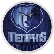 Memphis Grizzlies Barn Door Round Beach Towel