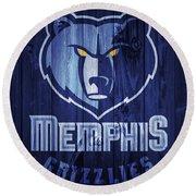Memphis Grizzlies Barn Door Round Beach Towel