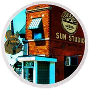 Memphis Sun Studio Birthplace Of Rock And Roll 20160215sketch Round Beach Towel