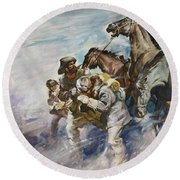 Men And Horses Battling A Storm Round Beach Towel by James Edwin McConnell