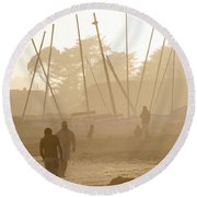 Men And Marina Round Beach Towel