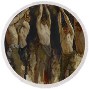 Men At An Anvil, Study For The Spirit Of Vulcan Round Beach Towel