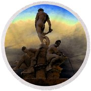 Men Of Greece Round Beach Towel