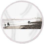 Men On Beach Round Beach Towel
