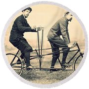 Men On Dual Bicycle, Cca 1900 Round Beach Towel