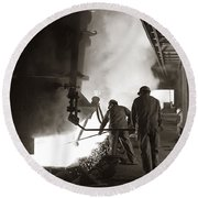 Men Working Blast Furnace At Steel Round Beach Towel
