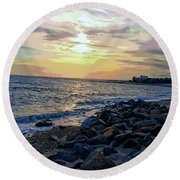 Menauhant Abstracted Sunset Round Beach Towel