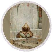 Mendicant In Meditation Round Beach Towel