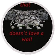 Mending Wall Transparent Background Round Beach Towel