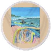 mendocino coast II Round Beach Towel