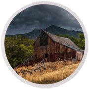 Mendon Utah Barn In Storm Round Beach Towel by Gary Whitton