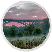 Mendota Bridge Sunrise Round Beach Towel