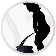 Mens Room Sign Silhouette Round Beach Towel