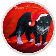 Meow Christmas Kitty Round Beach Towel