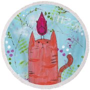 Meow Song Round Beach Towel