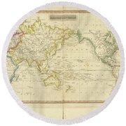 Mercator's Chart Round Beach Towel