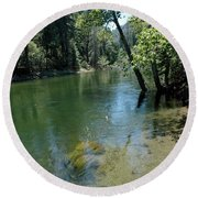 Merced River Banks Round Beach Towel