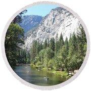 Merced River In Yosemite Round Beach Towel