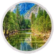 Merced River Round Beach Towel
