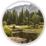 Merced River Yosemite Valley Yosemite National Park Round Beach Towel