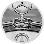 Mercedes Benz Hood Ornament 2 Round Beach Towel by Jill Reger